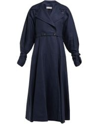Palmer//Harding - Double Breasted Linen And Wool Blend Trench Coat - Lyst