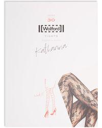Wolford Collants en dentelle Katharina 30 deniers - Noir