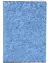 Smythson パナマ レザーパスポートケース - ブルー