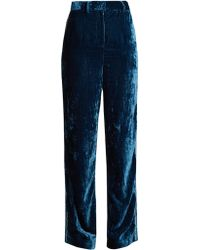 Jupe by Jackie Moritz Embroidered Silk Velvet Trousers - Blue