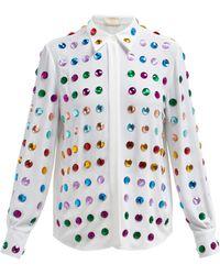 Sara Battaglia Gem Embellished Shirt - White