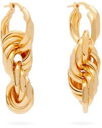Bottega Veneta Interlocking-hoop Sterling-silver Earrings - Metallic