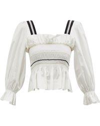 Lug Von Siga Elisa Puffed-sleeve Smocked Cotton Top - White