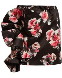 MSGM - Floral-print Ruffled Satin Mini Skirt - Lyst