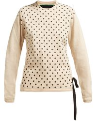 La Fetiche Mimi Polka-dot Cashmere Sweater - Natural
