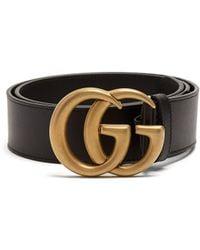 Gucci Ceinture en cuir GG - Noir