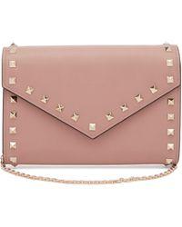 Valentino Rockstud Leather Envelope Clutch - Multicolour
