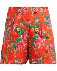 RHODE Reese Floral-print High-waist Cotton Shorts - Red