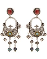 Saint Laurent - Floral-embellished Clip-on Earrings - Lyst