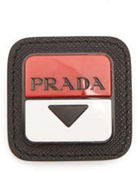 Prada Broche en cuir à plaque logo - Noir