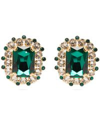 Dolce & Gabbana Crystal Clip Earrings - Green