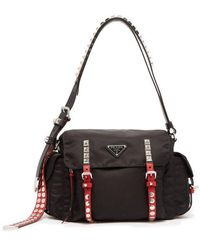 Prada - Vela Leather Trimmed Cross Body Bag - Lyst
