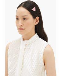 Prada Triangle-logo Hair Slides - Pink