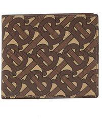 Burberry Monogram Print E-canvas International Bifold Wallet - Brown