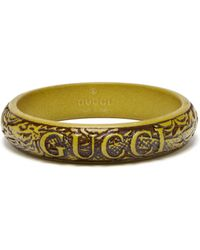 Gucci Logo And Snake Carved Resin Bangle - Multicolour