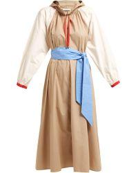 Apiece Apart Robe en coton ceinturée à capuche Donostia - Bleu