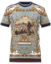 Dolce & Gabbana プリント コットンtシャツ - ブルー