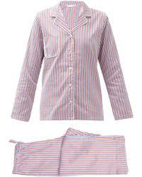 Derek Rose Pyjama en popeline de coton rayée - Rouge