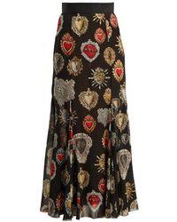 Dolce & Gabbana - Heart-print Fluted Skirt - Lyst