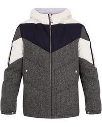 Moncler Gamme Bleu | Hooded Contrast-panel Herringbone-wool Down Jacket | Lyst
