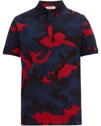 Valentino Camouflage-print Cotton-piqué Polo Shirt - Blue