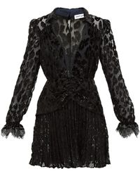 Self-Portrait Leopard Devoré-velvet Mini Dress - Black