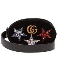 Gucci - Gg Marmont Embellished Velvet Belt Bag - Lyst