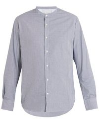 Officine Generale Gaspard Stand-collar Striped Cotton Shirt - Blue