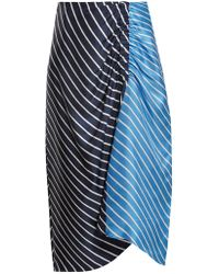 Tibi - Delphina Ruched Striped Silk-twill Midi Skirt - Lyst