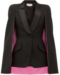 Alexander McQueen Cape-sleeve Single-breasted Wool-blend Jacket - Black