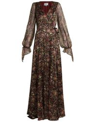 Luisa Beccaria - Floral-print Sheer-sleeved Silk-blend Wrap Gown - Lyst