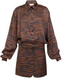 The Attico タイガーサテン ミニシャツドレス - ブラウン