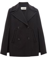 Valentino ウールブレンドツイル ダブルケープコート - ブラック