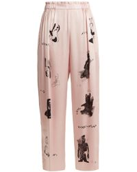 Claire Barrow - Dog Print Wide Leg Silk Satin Trousers - Lyst