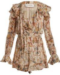 Zimmermann - Painted Heart Cascade Floral Print Silk Playsuit - Lyst