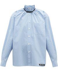 Miu Miu Gathered Gingham Cotton Shirt - Blue