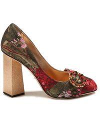 Dolce & Gabbana - Block-heel Floral-jacquard Pumps - Lyst