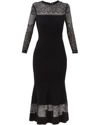 Alexander McQueen レース&リブオットマン ドレス - ブラック