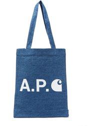 A.P.C. Small Logo-print Denim Tote Bag - Blue