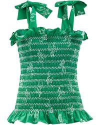 Loretta Caponi Haut en coton froncé à bretelles nouées Alma - Vert