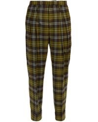 CONNOLLY High Rise Check Wool Pants - Green