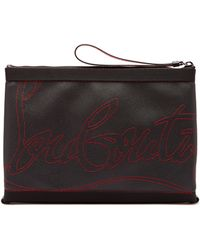 689e9987322 Kaloupouch Logo Stitched Grained Leather Pouch - Black