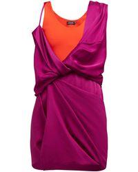 Atlein Draped Hybrid Satin-jersey Mini Dress - Multicolour