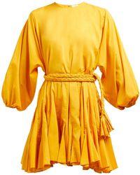 RHODE Ella Tie-waist Cotton-voile Mini Dress - Yellow