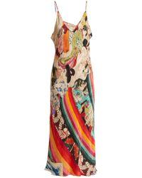 Chufy Robe en satin à encolure profonde en V Trippin - Multicolore