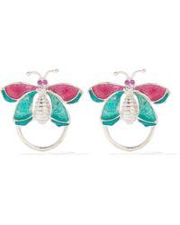 Chopova Lowena Crystal And Enamel Butterfly Earrings - Multicolour