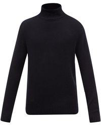Allude Marled-cashmere Roll-neck Jumper - Black
