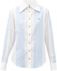 Vivienne Westwood エンブロイダリー ストライプ コットンシャツ - マルチカラー