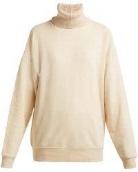 Helmut Lang - Contrast Roll Neck Cotton Jersey Sweatshirt - Lyst