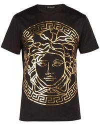 Versace Medusa Gold Print T Shirt - Black